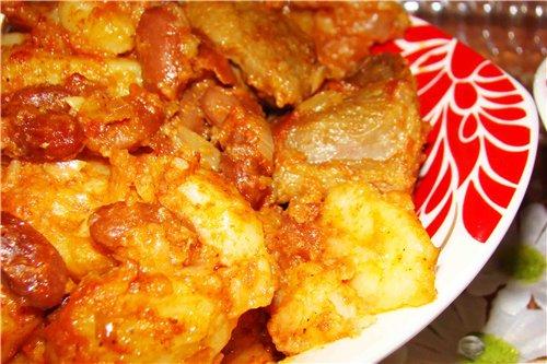 Квасоля з картоплею до смаженого м'ясі