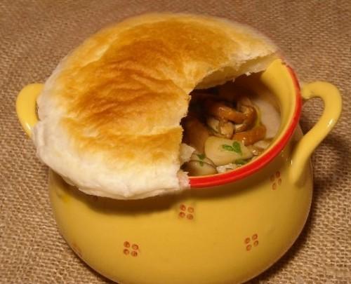 Гречка з грибами і печінкою в горщиках
