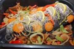 Короп по-монастирськи з овочами, грибами і лимоном