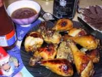 Курка у винному соусі з пастою, сиром і зеленню