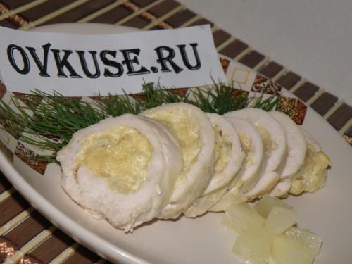 Курячі рулети з сиром і анансом, рецепт приготування з фото