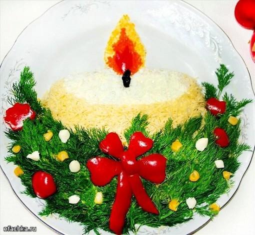 М'ясний новорічний салат-торт «Святкова свічка»