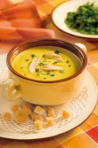 Ніжний овочевий суп-пюре (курячий бульйон)