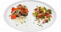 Овочі, смажені з грибами