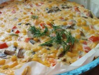 Піца фріттата з грибами і кукурудзою