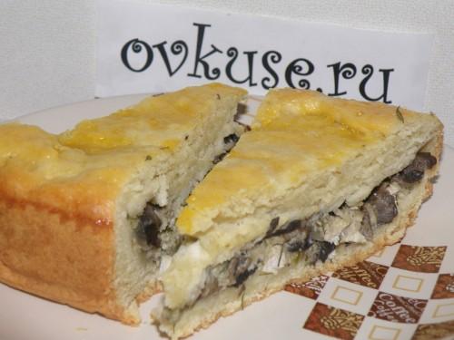 Пиріг з куркою і грибами, рецепт приготування з фото
