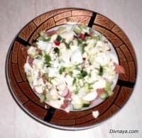 Салат з копченої риби і картоплі