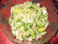 Салат з макаронів, квасолі і волоських горіхів