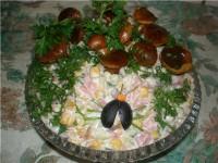 Салат з печериць і яєць (I)