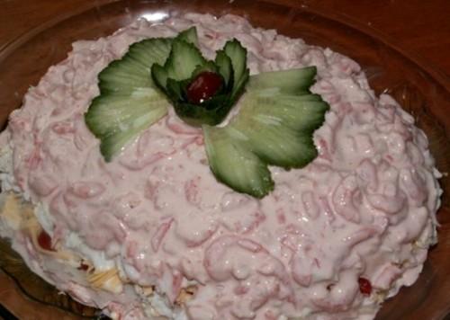 Салат новорічний з креветками «Рожевий фламінго»