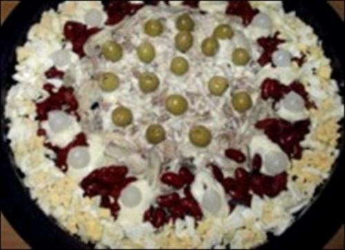 Салат новорічний з куркою «Колесо огляду»