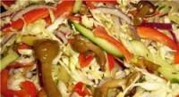 Пісний Салат «Гармонія смаку» з грибами, капустою та огірками