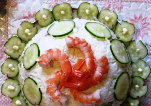 Салат з кальмарами і рибою «Біла сукня»
