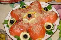 Салат з креветками і червоною рибою «Морська зірка»