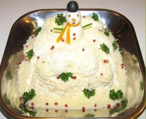 Салат з куркою і грибами «Сніговик на заметі»
