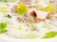 Суп сирний з грибами і м'ясом