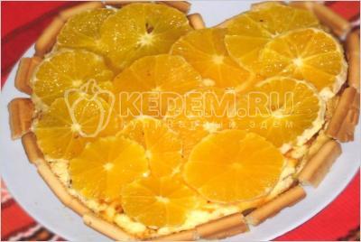 Сирний торт з апельсинами (апельсиновий чізкейк)