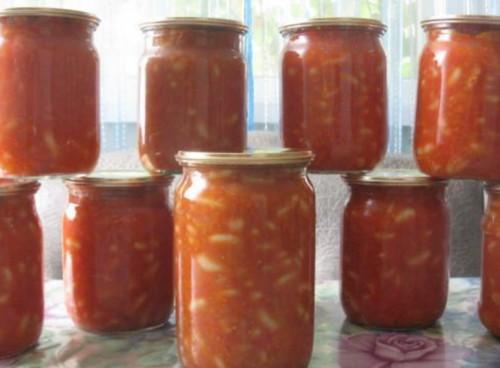 Закуска-заготівля з квасолі, помідорів і зелені