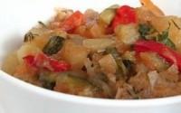 Смажені з баклажанами і овочами стегенця